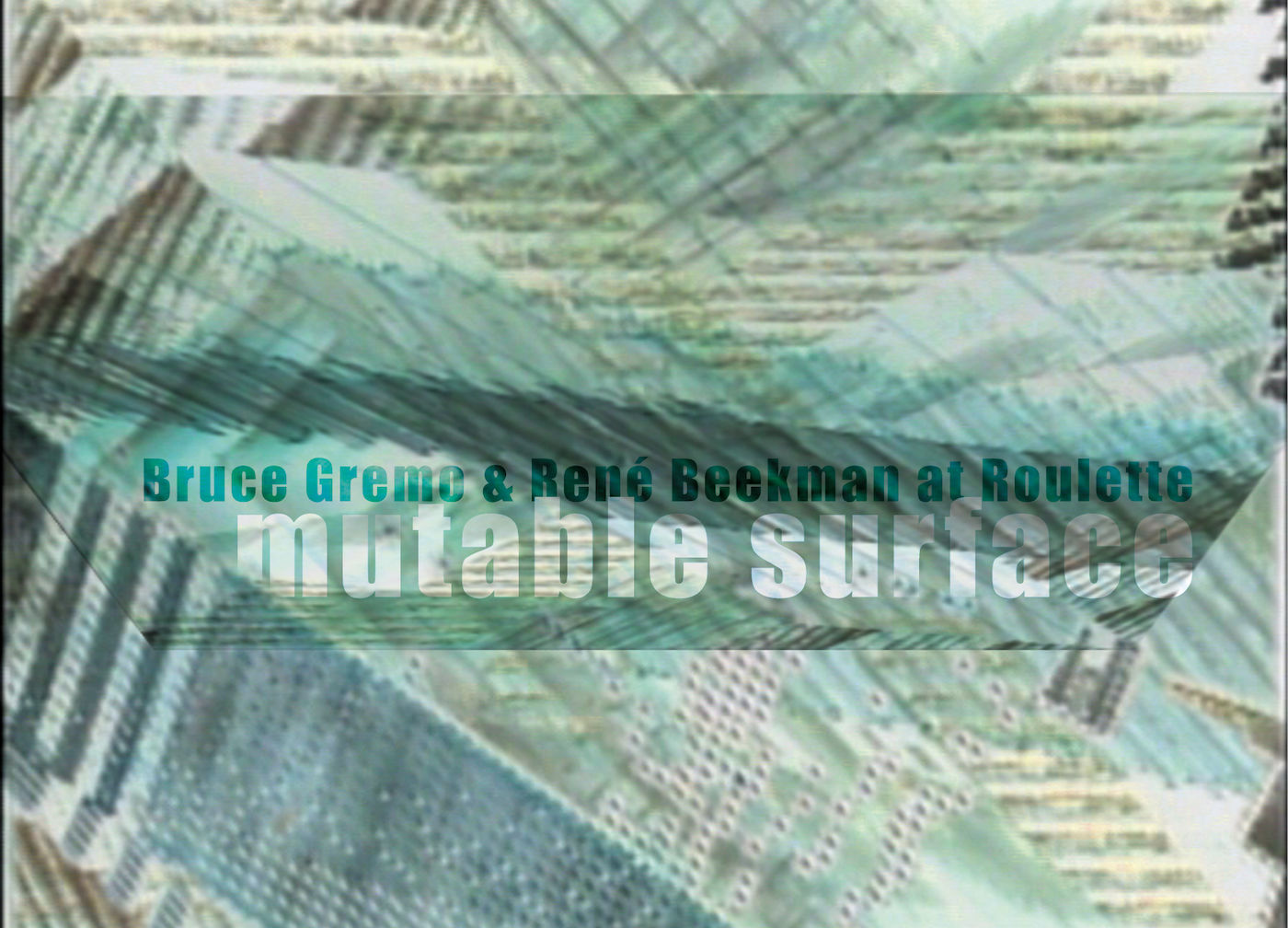 Roulette – Mixology Festival performance Opening 20:30 René Beekman & Bruce Gremo Mutable Surface:inter-routing improvisation using Max/MSP and nato or 14 theaters taken from a certain Chinese encyclopedia
